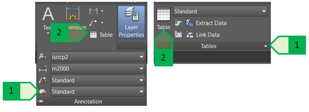 CAD LE: Using the tables